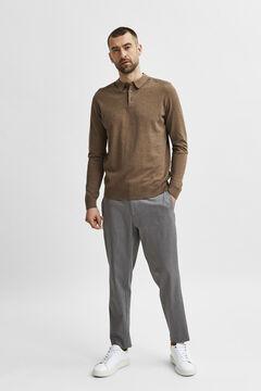 Cortefiel Men's polo shirt jumper Tobaco