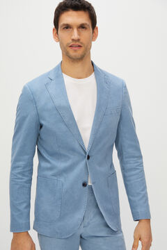 Cortefiel Slim fit cotton and linen suit blazer Blue