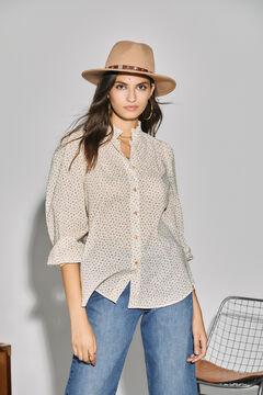 Cortefiel Embroidered blouse Ecru