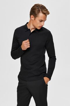 Cortefiel Long-sleeved organic cotton polo shirt Black