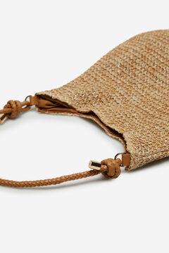 Cortefiel Raffia handbag Brown