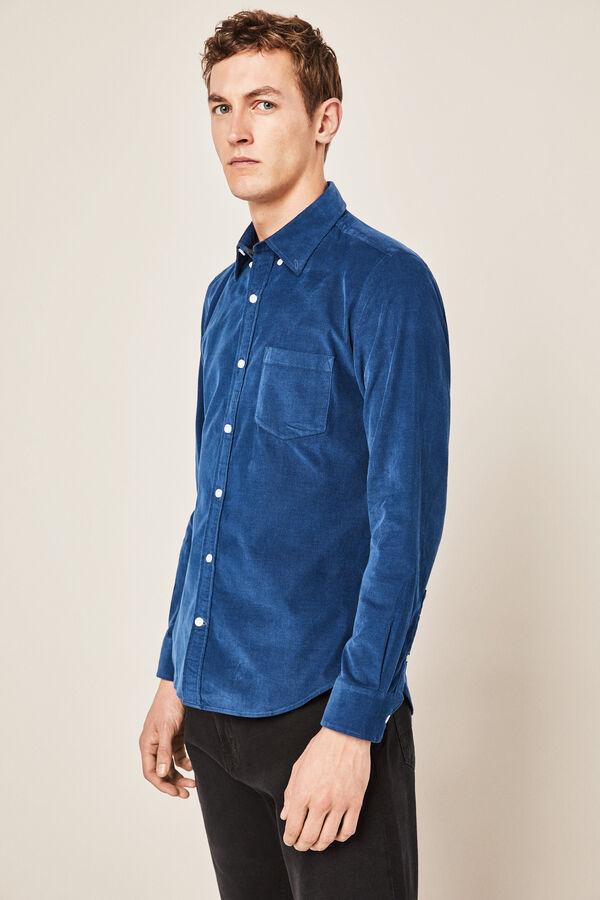 9eebcf63d6 Cortefiel Camisa pana lisa Azul
