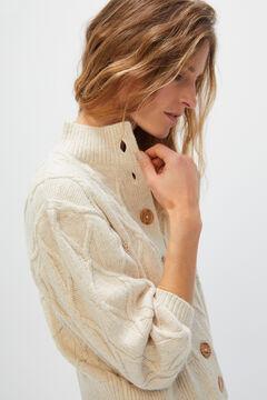 Cortefiel Textured puffer jacket Ecru