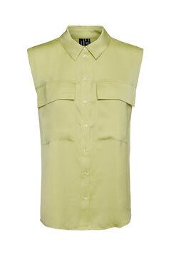 Cortefiel Sleeveless satin T-shirt Pistachiogreen