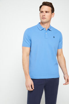 Cortefiel Short-sleeved logo polo shirt Blue
