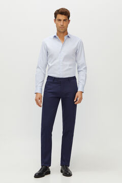 Cortefiel Slim fit cotton and linen suit trousers Navy