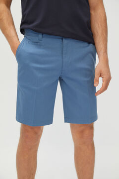 Cortefiel Piqué textured chino Bermuda shorts Royal blue