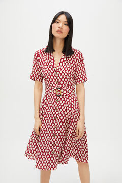Cortefiel Printed dress with belt Beige