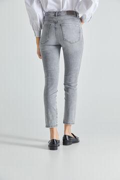 Cortefiel High rise cigarette jeans Gray