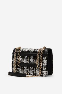Cortefiel Tweed crossbody bag Black