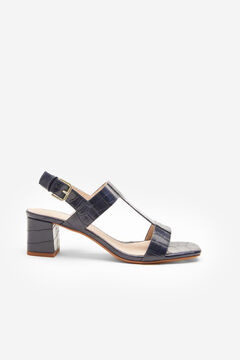 Cortefiel Crocodile embossed sandal Navy