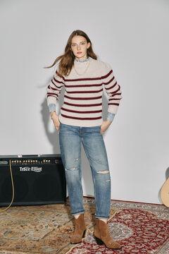 Cortefiel Sustainable striped jumper Ecru
