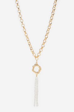 Cortefiel Long chain and pearls necklace Beige