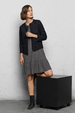 Cortefiel Suede bomber jacket Black