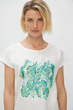 Cortefiel Printed T-shirt Natural