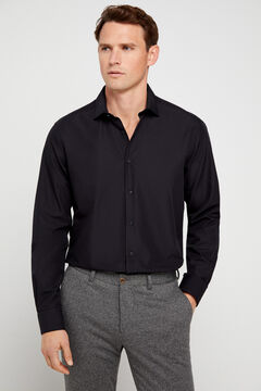 Cortefiel Textured black slim fit dress shirt Black