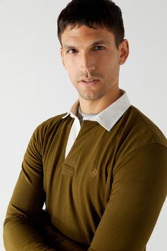 Cortefiel Plain long-sleeved polo shirt Dark gray