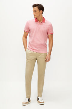 Cortefiel Beige tapered fit chinos with pleats Camel