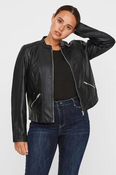 Cortefiel Curve faux leather jacket Black
