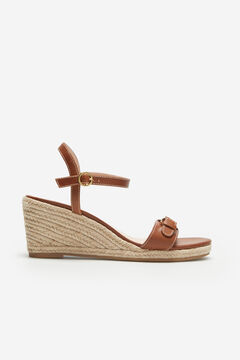 Cortefiel Leather and natural jute wedge Tobaco