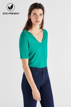 Cortefiel V-neck organic cotton t-shirt Dark green