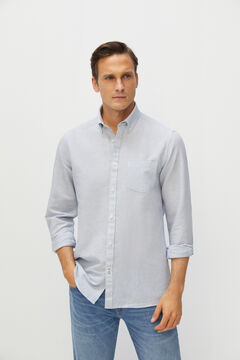 Cortefiel Striped cotton and linen shirt Stone