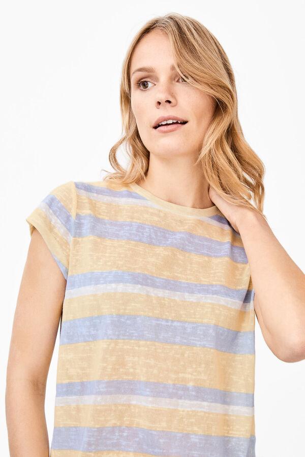060a293a6d Cortefiel Camiseta rayas efecto lino Amarillo
