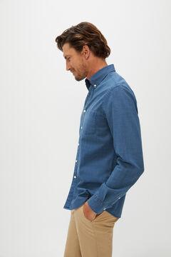 Cortefiel Camisa cuadros denim algodón orgánico Azul