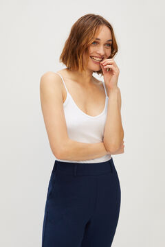 Cortefiel Organic cotton vest top White