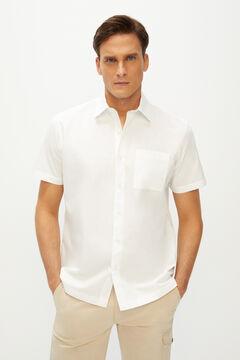 Cortefiel Camisa lisa manga corta Blanco