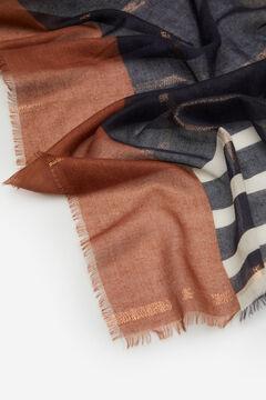 Cortefiel Lenço de seda fino lúrex cobre Varios