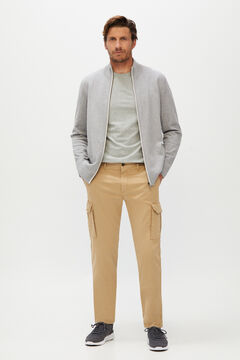 Cortefiel Slim fit cargo trousers  Stone