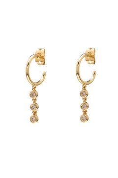 Cortefiel FRAU hoop earrings - Crystal - Gold Beige