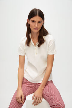 Cortefiel Essential piqué polo shirt White