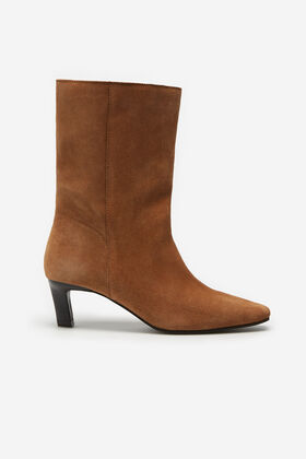 Cortefiel Split leather track sole ankle boot Tobaco