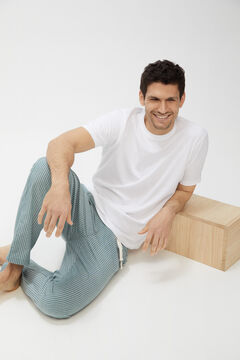 Cortefiel Pijama de punto y tela Blanco