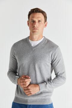 Cortefiel Cotton/cashmere V-neck jumper  Gray