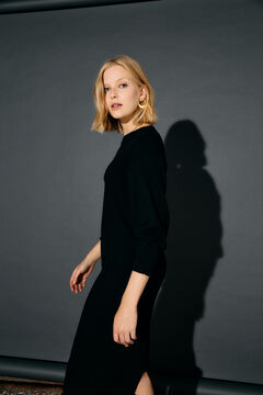Cortefiel Batwing-sleeved jersey-knit dress Black