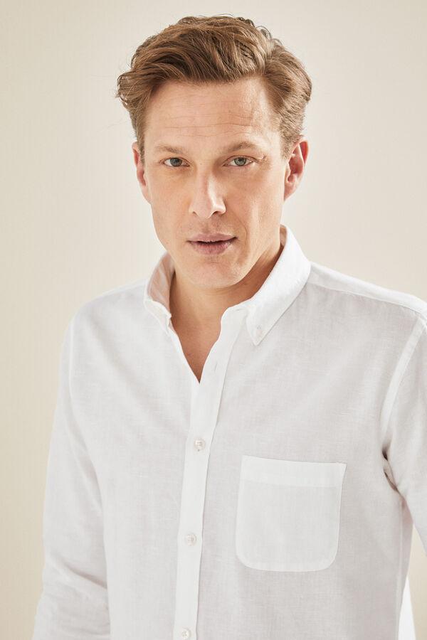 0c32bae8cf Cortefiel Camisa lisa de lino algodón Blanco