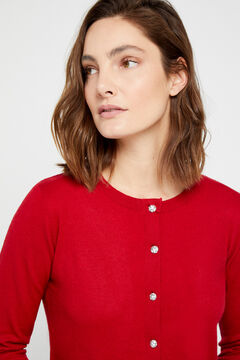 Cortefiel Eco-friendly jewel button jacket Red garnet