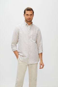 Cortefiel Plain linen and cotton shirt Stone