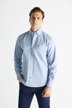 Cortefiel Checked organic cotton Oxford shirt Stone