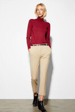 Cortefiel Slim trousers with belt Pink