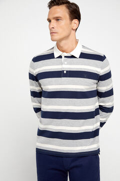 Cortefiel Long-sleeved polo shirt Gray