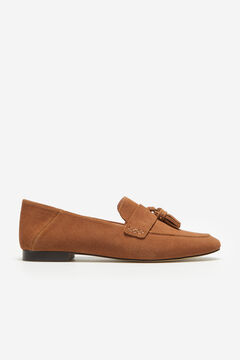 Cortefiel Soft split leather loafer Tobaco
