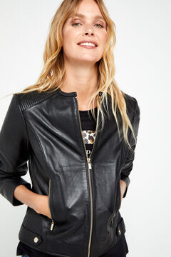 Cortefiel Classic leather jacket Black