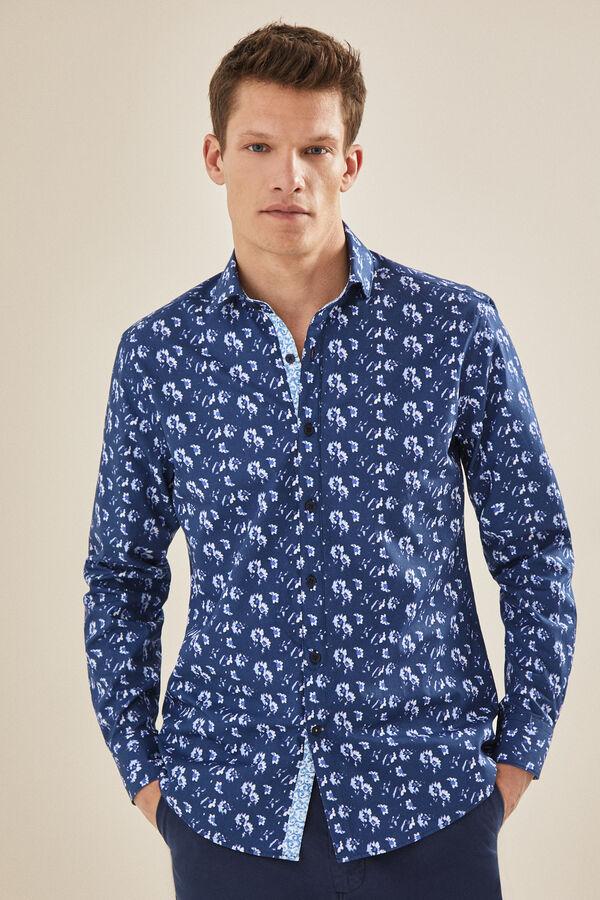 8d60486dd1 Cortefiel Camisa estampado floral de corte slim Azul