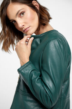 Cortefiel Leather jacket with braids Dark green