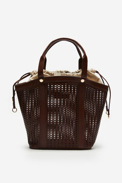 Cortefiel Large cutwork basket bag Dark brown
