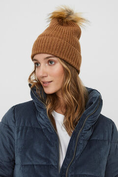 Cortefiel Rib knit recycled polyester pompom hat Royal blue